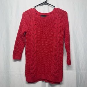 Cynthia Rowley red cable knit sweater size small